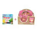 Pack Set dejeuner en bambou Rose Titounis et 6 sticks de peinture solide Playcolor Titounis - Le Monde des Titounis