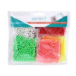 Pack 1500 Aqua Perles 3x3mm + 10 modèles - Thème Fruits - Assortiment de 7 Couleurs