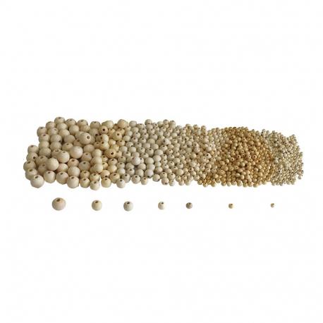 Lot de 575 Perles en Bois - Assortiment de 7 tailles - Coloris Naturel