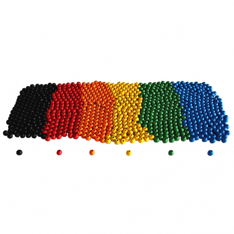 Lot de 1000 Perles en Bois Colorées - 10mm - Assortiment de 6 couleurs