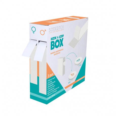 Boîte distributrice de 2 Bandes Scratchs Adhésives - Largeur 2 cm - Longueur 10m - Coloris Blanc