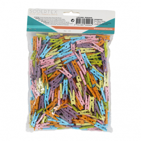 Pack de 450 Petites Pinces à Linge Colorées - 2,5cm - Assortiment de 6 couleurs