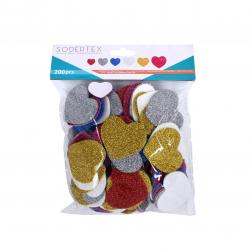 Pack de 200 Coeurs en Mousse EVA Pailletée Adhésives 2mm - Assortiment de 4 Tailles et de 6 Couleurs