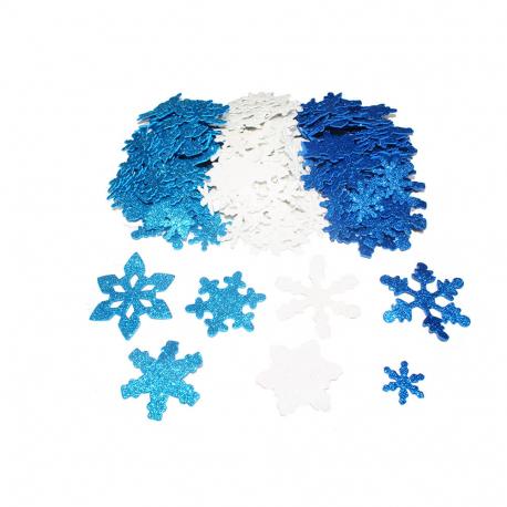 Pack de 240 Flocons de Neige en Mousse EVA Pailletée Adhésives 2mm - Assortiment de 3 Tailles et de 3 Couleurs