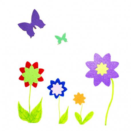 Maxi Pack de 600 Gommettes en Feutrine Adhésives 1mm - Thème Fleurs/Papillons/Cœurs/Etoiles - 4 tailles - 10 Couleurs assorties