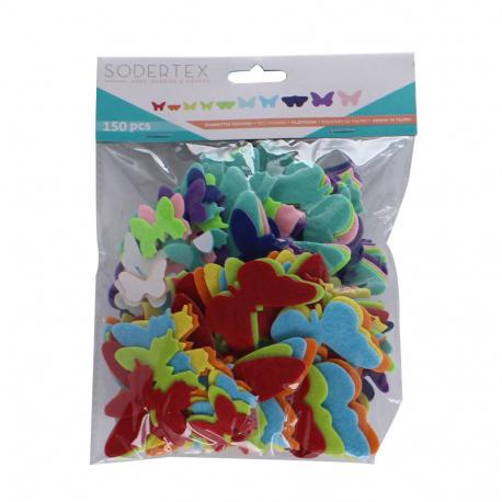 Pack de 150 Gommettes en Feutrine Adhésives 1mm - Thème Papillons - 4 tailles - Assortiment de 10 Couleurs