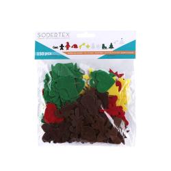 Pack de 150 Gommettes en Feutrine Adhésives 1mm - Thème Noël - 2 tailles - Assortiment de 5 Couleurs