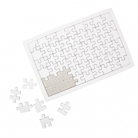 Lot de 10 Puzzle en Carton de 54 pièces avec Contour à Personnaliser - 16x24cm - Carton 900G/M2 - Coloris Blanc