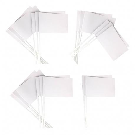 Lot de 20 Drapeaux en Carton de 10x16cm à Personnaliser - Carton 120G/M2 - Tige 30cm - Coloris Blanc