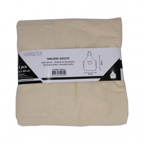 Lot de 5 Tabliers pour Adultes à Décorer - 100% coton - 100g/m² - 65x90cm - Coloris écru
