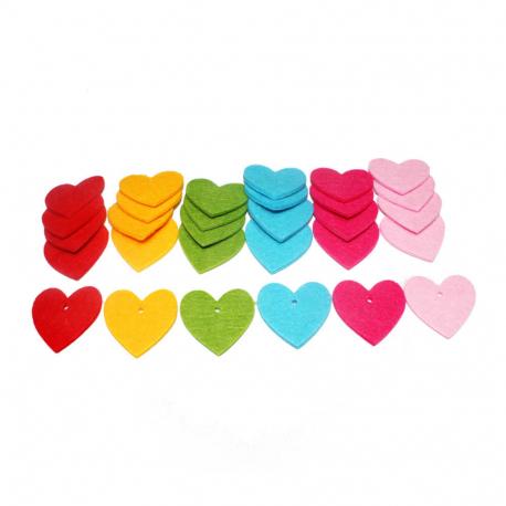 Lot de 30 Coeurs en Feutrine de 3mm - Diamètre 4cm - Assortiment de 6 Couleurs