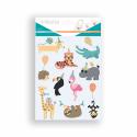 Pack de 60 Gommettes Décalcomanie Textile et Papier - 6 Planches 17x22cm - Thème Animaux en Fête