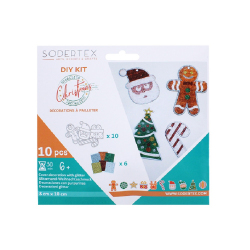 Pack décorations à pailleter SHINY CHRISTMAS + 6 sachets - 8X10 cm - 10 pcs - Coloris assortis