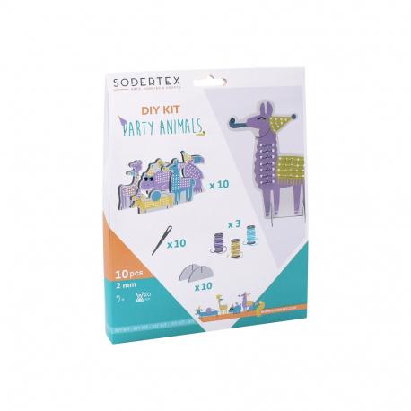 Kit 10 Cartes à broder 16cm + 10 Aiguilles Plastique + 3 Bobines de Fil - Thème Animaux - Assortiment de 3 Coloris