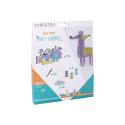 Kit 10 Cartes à broder Party Animals 16cm + 10 Aiguilles Plastique + 3 Bobines de Fil - 3 Coloris assorts
