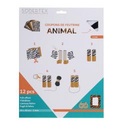 Coupons Feutrine Imprimée Thème Animal - 24x30cm - 12 couleurs assorties
