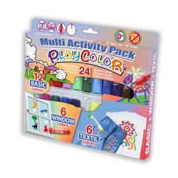 Pack Multi Activités - PLAYCOLOR ONE - Boîte de 24 Sticks de peinture gouache solide 10g
